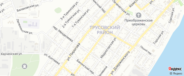 Переулок Калинина на карте Астрахани с номерами домов