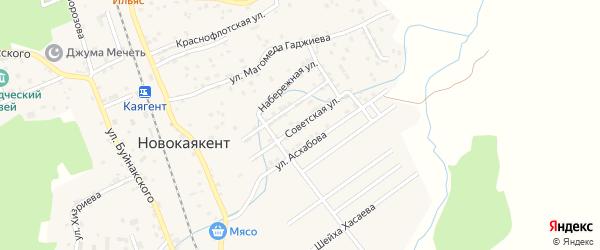 Советская улица на карте села Новокаякента с номерами домов
