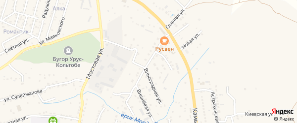 Отрадная улица на карте села Карагали с номерами домов