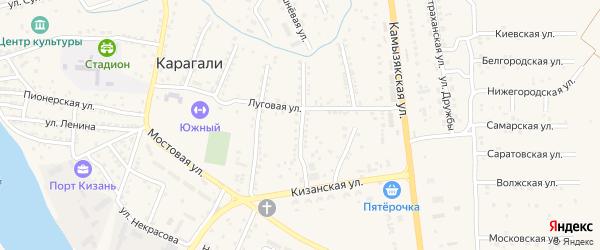 Степная 1-я улица на карте села Карагали с номерами домов