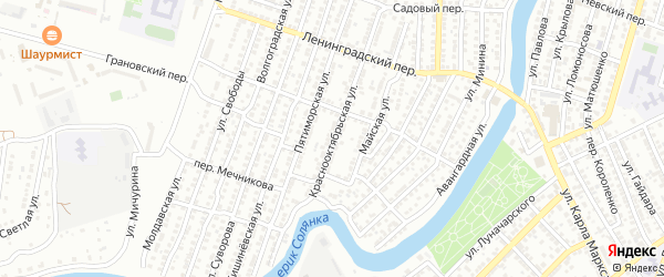 Краснооктябрьская улица на карте Астрахани с номерами домов
