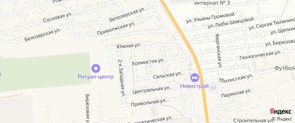 Холмистая улица на карте села Солянки с номерами домов