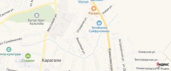 Виноградная улица на карте села Карагали с номерами домов