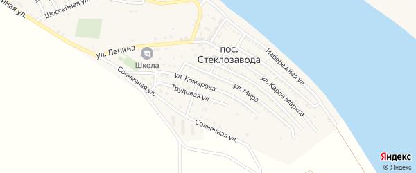 Улица Комарова на карте поселка Стеклозавода с номерами домов