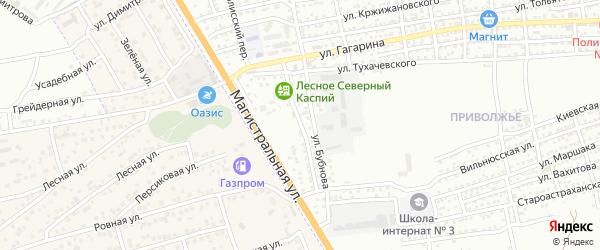 Придорожная улица на карте Астрахани с номерами домов