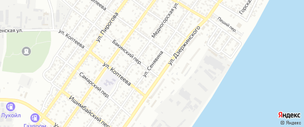 Улица Сенявина на карте Астрахани с номерами домов