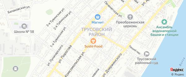 Комсомольская улица на карте Астрахани с номерами домов