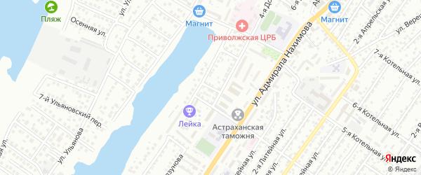 Пришкольная улица на карте Астрахани с номерами домов