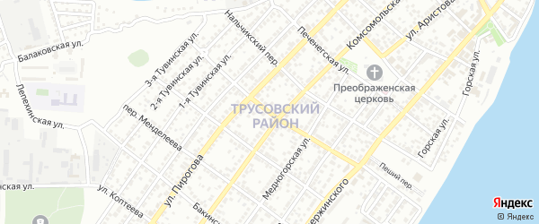 Кавказский переулок на карте Астрахани с номерами домов