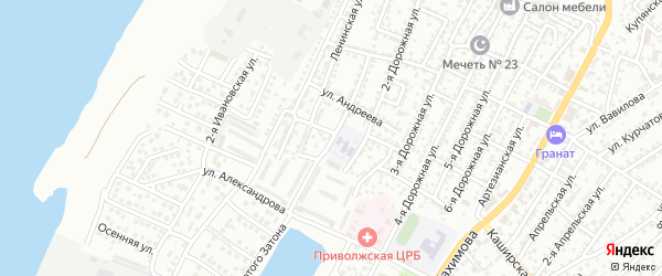 Дорожная 1-я улица на карте Астрахани с номерами домов