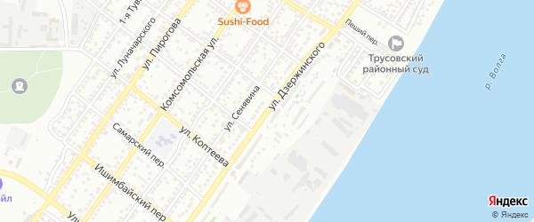 Улица Дзержинского на карте Астрахани с номерами домов