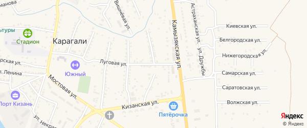 Степная 2-я улица на карте села Карагали с номерами домов