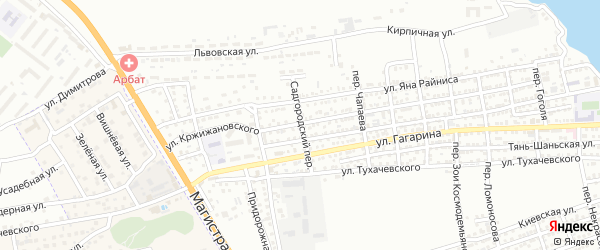 Садгородский переулок на карте Астрахани с номерами домов