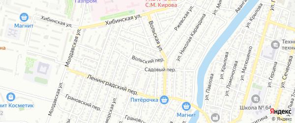 Вольский переулок на карте Астрахани с номерами домов