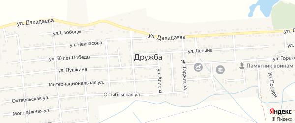Улица Гаджиева на карте села Дружбы с номерами домов