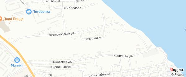 Лазурная улица на карте Астрахани с номерами домов