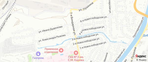 Бондарная 7-я улица на карте Астрахани с номерами домов