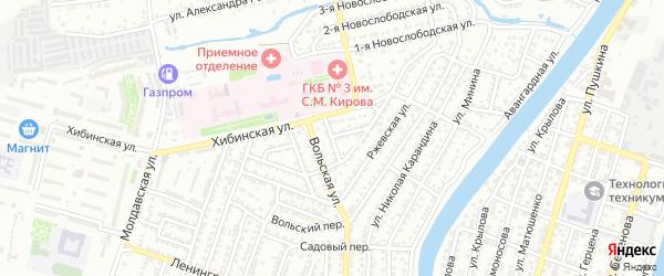 Павелецкий переулок на карте Астрахани с номерами домов