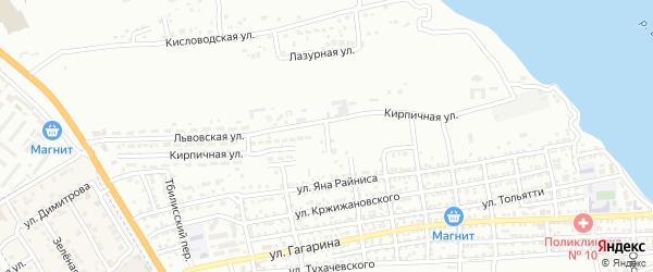 Львовский переулок на карте Астрахани с номерами домов