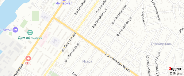 Литейная 7-я улица на карте Астрахани с номерами домов
