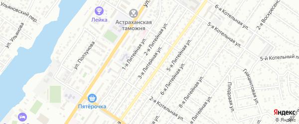 Литейная 3-я улица на карте Астрахани с номерами домов