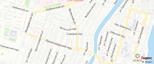 Якобинская улица на карте Астрахани с номерами домов