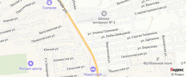 Переулок Новостроек на карте Астрахани с номерами домов
