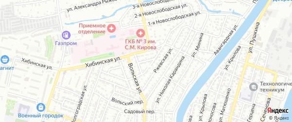 Ржевский переулок на карте Астрахани с номерами домов