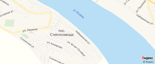 Набережная улица на карте поселка Стеклозавода с номерами домов
