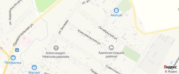 Комсомольская улица на карте села Яльчиков с номерами домов