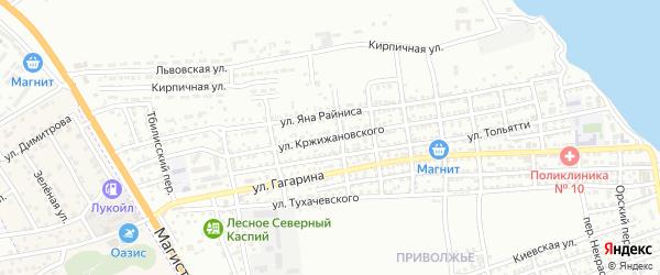 Улица Кржижановского на карте Астрахани с номерами домов