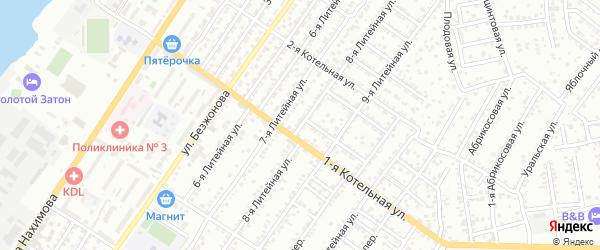 Литейная 8-я улица на карте Астрахани с номерами домов