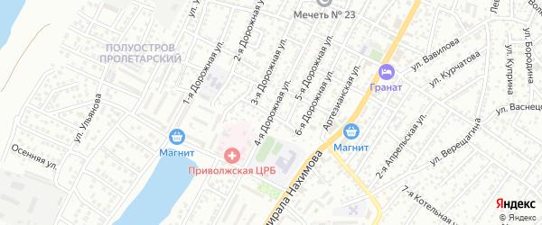 Дорожная 4-я улица на карте Астрахани с номерами домов