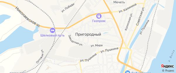 Карта Пригородного поселка в Астраханской области с улицами и номерами домов