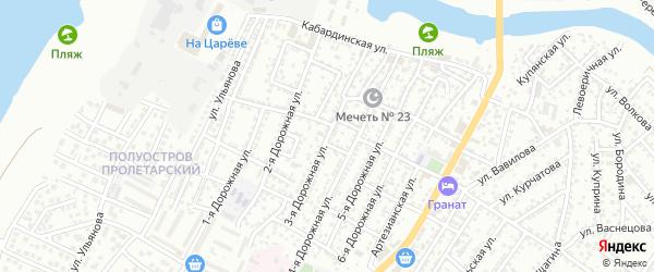 Дорожная 3-я улица на карте Астрахани с номерами домов