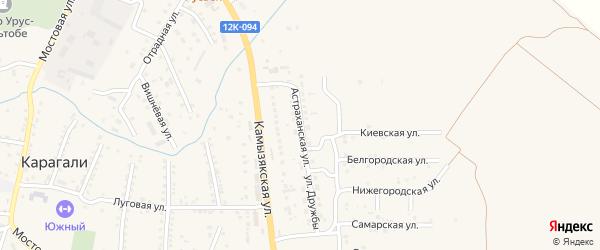 Астраханская улица на карте села Карагали с номерами домов