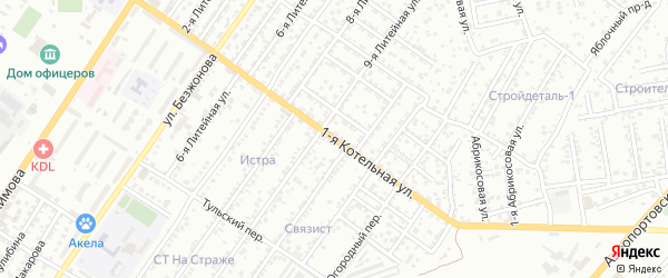 Абрикосовая 1-я улица на карте Астрахани с номерами домов