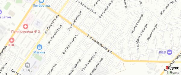 Котельная 1-я улица на карте Астрахани с номерами домов