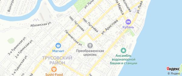 Переулок Чугунова на карте Астрахани с номерами домов