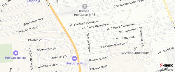 Ферганская улица на карте Астрахани с номерами домов