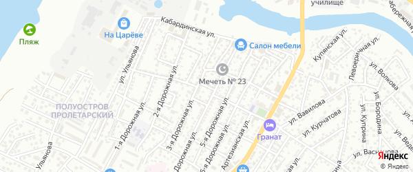 Пролетарский переулок на карте Астрахани с номерами домов