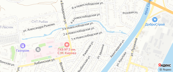 Новослободская 1-я улица на карте Астрахани с номерами домов