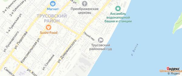 Пеший переулок на карте Астрахани с номерами домов