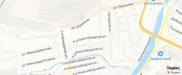 Новослободская 6-я улица на карте Астрахани с номерами домов