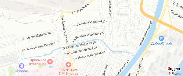 Бондарная 4-я улица на карте Астрахани с номерами домов