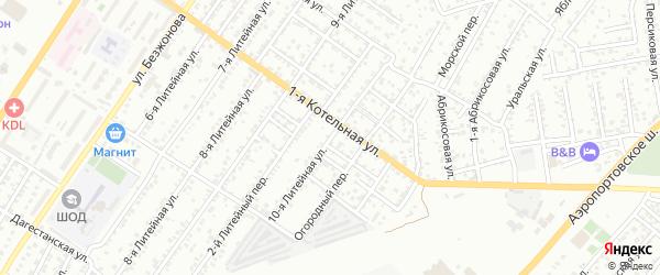 Литейная 10-я улица на карте Астрахани с номерами домов