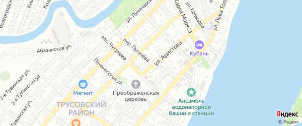 Переулок Пугачева на карте Астрахани с номерами домов