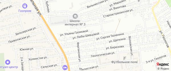 Улица Л.Шевцовой на карте Астрахани с номерами домов