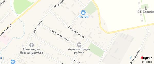 Октябрьская улица на карте села Яльчиков с номерами домов