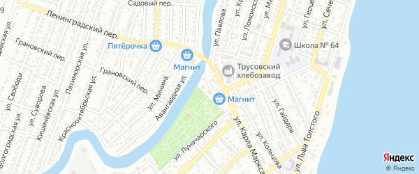 Кузнечная площадь на карте Астрахани с номерами домов